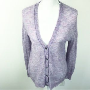 J. Crew Purple Kid Mohair Button Cardigan M